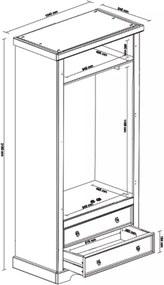 Guarda Roupa Rústico com  2 Portas - 2 Gavetas - Madeira Maciça
