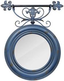 Espelho Trabalhado Redondo Azul Velho