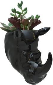Vaso de Parede Cachepot Rinoceronte Preto Porcelana