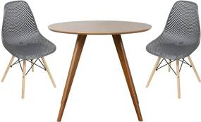 Conjunto Mesa Square Redonda Bétula 88cm + 2 Cadeiras Eames Colméia Preta