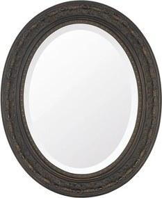 Espelho Oval Bisotê Marrom Rustico Médio
