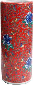 Porta Guarda-Chuva em Porcelana Redondo Florido Vermelho D23cm x A57cm