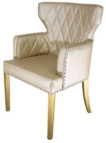 Cadeira de Jantar Estofada Matelassê com Tachas  - Wood Prime PP 33306