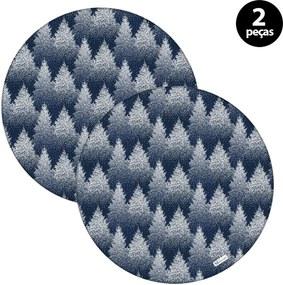 Sousplat Mdecore Natal Pinheiros 32x32cm Azul 2pçs