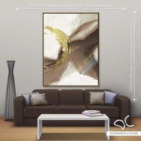 Quadro Abstrato Marrom Tree - Gigante 185cm x 140cm, Tela + Moldura Dourada