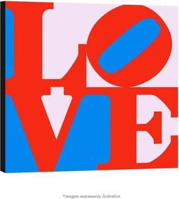 Poster Love - Com Fundo Azul E Rosa (60x60cm, com Painel)