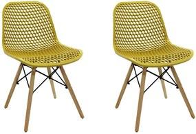Kit 2 Cadeiras Decorativas Sala e Cozinha Haney (PP) Amarela Ocre - Gran Belo