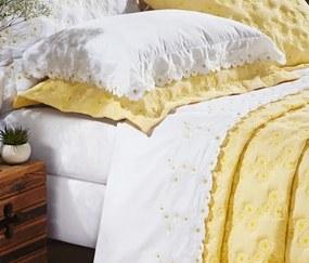 Roupa de Cama Casal King Coleção Nuance 04 Peças - Branco / Amarelo