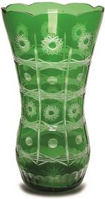 Vaso em Cristal Tcheco Verde Lapidado