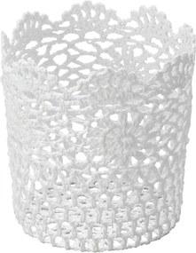 Cesta Redonda de Plástico Branca Crochê Alta 6342 Lyor Classic