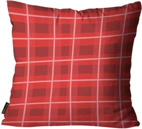 Capa para Almofada Mdecore Natal Xadrez Vermelha 45x45cm