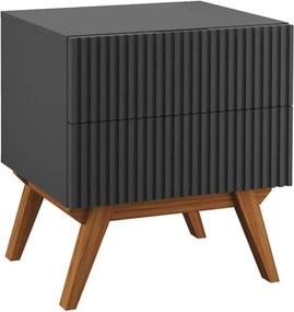 Mesa de Cabeceira Tulum 2 Gavetas Grafite - Wood Prime PA 44021