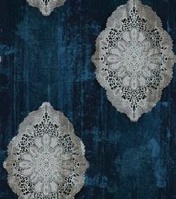 Papel de Parede Mandalas Efeito Manchado Azul e Prata - Coleção Império Lord II - 66127