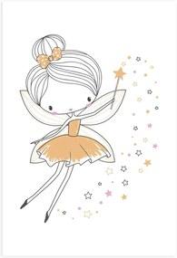 Placa Decorativa para Quarto de Menina Fada Amarela 20x30cm