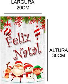 Placa Decorativa Suspensa Feliz Natal Gorro do Papai Noel Único Pump UP