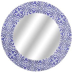 Espelho Redondo Revestido Em Vidro Azul