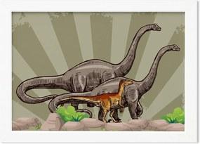Quadro Infantil Dinossauro Verde Moldura Branca 22x32