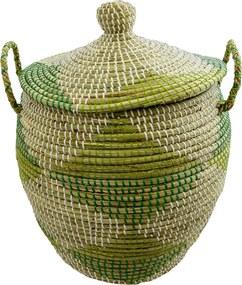 Cesto em Palha com Rattan com Detalhes Verde 55 cm x 41 cm x 41 cm