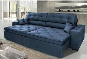Sofá Austin 2,22m Retrátil Reclinável, Molas no Assento e Almofadas, Tecido Suede Velusoft Azul