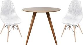 Conjunto Mesa Square Redonda Bétula 88cm + 2 Cadeiras Eames Colméia Branca