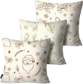Kit com 3 Almofadas de Natal Decorativas Colorido55x55