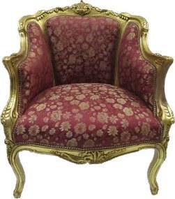 Poltrona Clássica Luis XV Estofado Vermelho Floral Folheada à Ouro