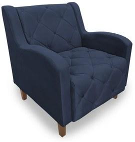 Poltrona Decorativa Munique Pés Palito Suede Azul - Sheep Estofados - Azul escuro