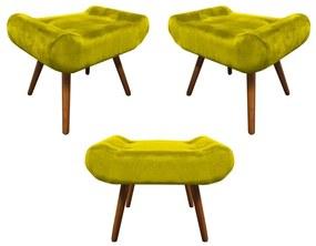 Kit 3 Puffs Decorativos Muu Pés Palito Suede Amarelo - Sheep Estofados - Amarelo