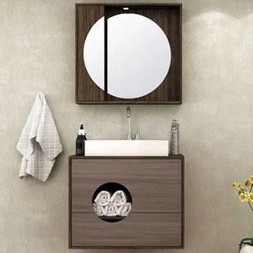 Kit Banheiro Gabinete 80cm Cuba e Armário com Espelho Florença Ameixa/Gris - Bosi