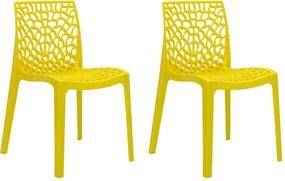 Kit 2 Cadeiras Decorativas Sala e Cozinha Cruzzer (PP) Amarela - Gran Belo