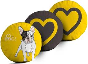 Kit 3 Almofadas Love Decor Redondas I Love My Dog Único