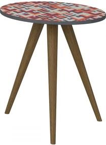 Mesa de Canto Redonda 1006 Retro Espresso/Estampa Vermelha - Bentec