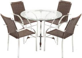 Conjunto Mesa de Jantar e 4 Cadeiras Atenas - Área Externa