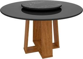 Mesa Redonda Para Sala de Jantar Isabela 135cm + Tampo Giratório de Vidro - Megasul