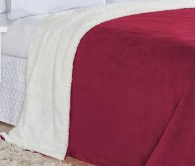 Cobertor King Alaska Tecido Sherpa / Manta Microfibra 01 Peça - Vinho