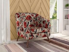 Poltrona Decorativa Angelica Pés Palito - Floral vermelho