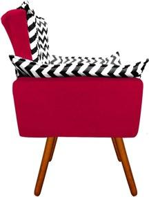 Poltrona Decorativa Opala Suede Composê Estampado Zig Zag Preto D80 e Suede Vermelho - D'Rossi
