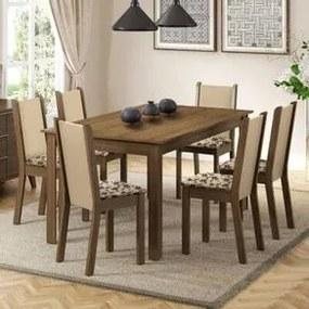 Conjunto Sala de Jantar Madesa Miriam Mesa Tampo de Madeira com 6 Cadeiras Rustic/Crema/Bege Marrom Cor:Rustic/Crema/Bege Marrom