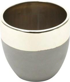 Cachepot De Cerâmica Cinza E Dourado 11X10,5cm
