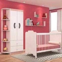 Quarto de Bebê Guarda Roupa e Berço Certificado pelo Inmetro Ternura B