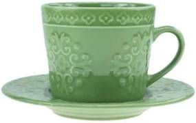 Jogo de 4 Xícaras p/Chá em Porcelana 250ml Verde - Wolff