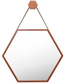 Espelho Decorativo Cobre Couro Marrom Ø60 Cm Hexagonal Jules