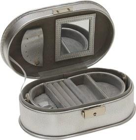porta joias CAPRICHO 19 cm couro sintético prata Ilunato CG0045