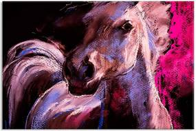 Tela Decorativa Abstrato Pintura Cavalo Lilas Médio Love Decor