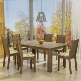 Conjunto Sala de Jantar Madesa Analu Mesa Tampo de Madeira com 6 Cadeiras Rustic/Lírio Bege Cor:Rustic/Lírio Bege
