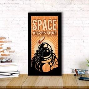 Quadro Alto Relevo Astronauta Space Laranja40x75cm