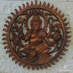 Mandala Ganesh em Madeira 30cm - Bali
