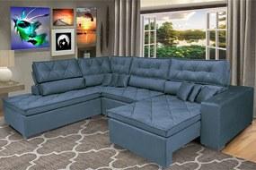 Sofa De Canto Retrátil E Reclinável Com Molas Cama Inbox Platinum Esquerdo 3,40x2,36 Suede Azul
