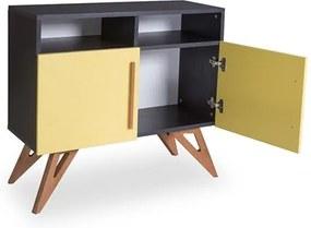 Buffet Preto Kruger com 2 Nichos e 2 Portas Coloridas Amarelo