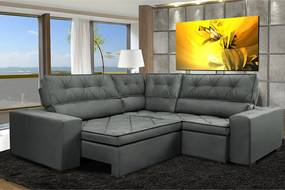 Sofa De Canto Retrátil E Reclinável Com Molas Cama Inbox Austin 2,30m X 2,30m Suede Velusoft Cinza